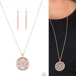 Filigree Pendant Copper Necklace and Earrings
